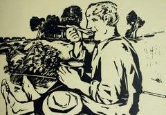 A fisherman - XX century, Black & white print, Woodcut, Polish art master
