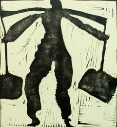 A carrying one - XX century, Black & white print, Woodcut, Polish art master