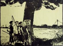 PKWN manifesto - XX century, Black & white print, Woodcut, Polish art master