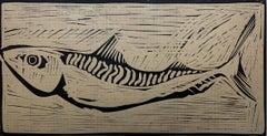 Mackerel - XX century, Black & white print, Linocut, Fish, Polish art master