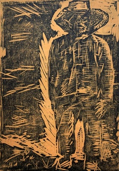 Peasant from under Nankin - Black & white print, Woodcut, Polish art master