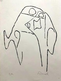 A head (Divine comedy) - Black & white print, Woodcut, Polish art master