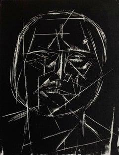 Selfportrait - XX Century, Black & white print, Woodcut, Polish art master