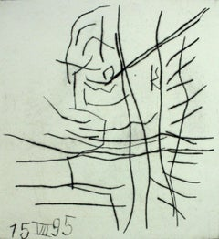 Untitled - XX Century, Abstract etching print, Black & white, Polish art master
