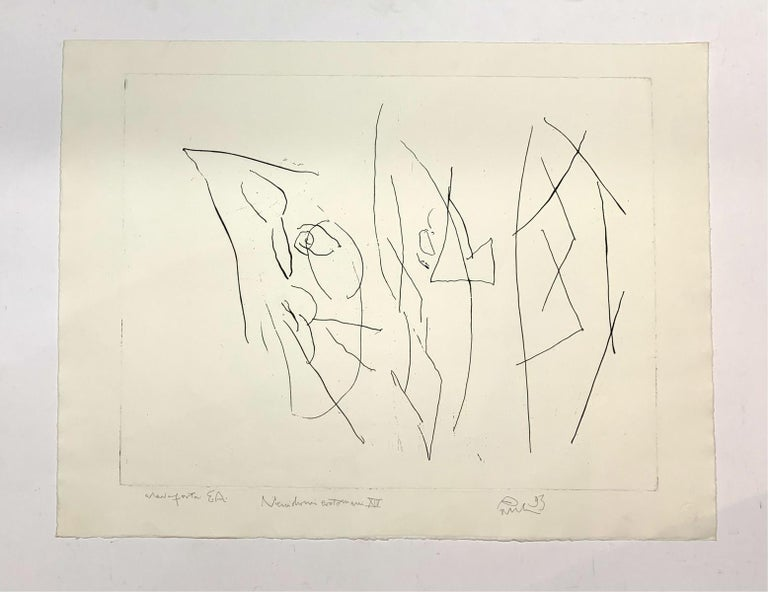 Blind erotomaniac - Black & white print, Etching, Abstraction, Polish art master - Print by Jerzy Panek