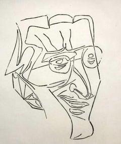 Portrait of Jozef Gielniak - Black & white print, Woodcut, Polish art master