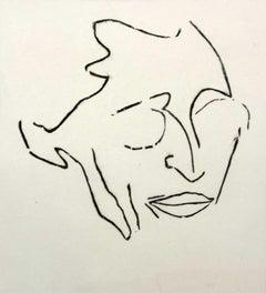 An attempt at a portrait of J. Gielniak- Black & white woodcut Polish art master