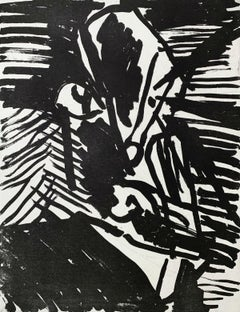 Cockeyed - Black & white etching print, Abstraction, Polish art master
