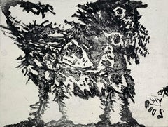 Lion and wind - Black & white etching print, Abstraction, Polish art master