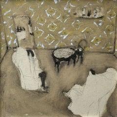 Eduardo y Eva - Contemporary oil on board painting, Interior, Warm tones