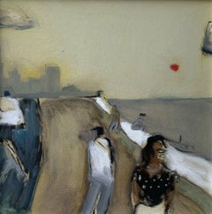 Malecon - Contemporary oil on board painting, Warm tones, Landscape