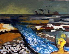River - XXI century, Oil figurative painting, Landscape, Dark colors