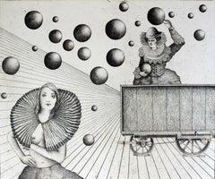 The potential burden - XXI century, Etching print, Figurative, Surrealist