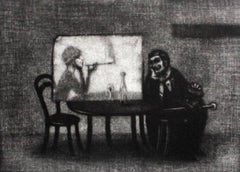 Conversation with a woman - XX century, Figurative print, Black and white