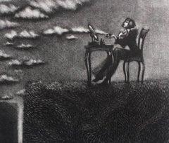 Lady creates clouds - XXI century, Figurative print, Black and white