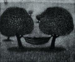 Green inflow - XX century, Figurative print, Black and white