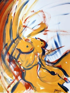 Nude - XXI century, Mixed media, Figurative acrylic painting, Female nude