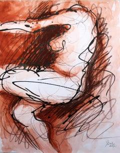 Nude - XXI century, Mixed media, Figurative acrylic painting, Female