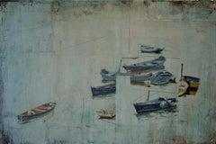 Rød linje - XXI century, Mixed media painting, Monochromatic landscape
