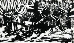 Sled - XX century, Woodcut print, Black and white, Woodcut