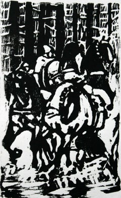 Horses - XX century, Woodcut print, Black and white, Figurative-abstract