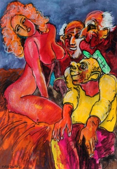 Susanna and the Elders - XX century, Pastel and mixed media, Figurative