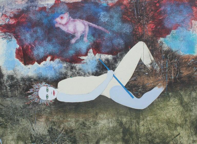 Jacek Sowicki Nude Print - Rat in the sky - XX century, Mixed media print, Figurative, Nude