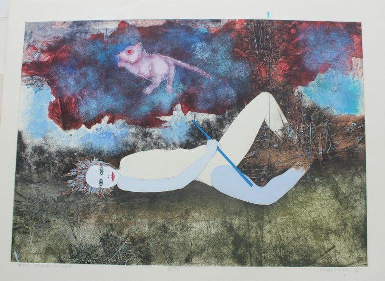 Rat in the sky - XX century, Mixed media print, Figurative, Nude - Print by Jacek Sowicki