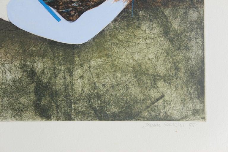 Rat in the sky - XX century, Mixed media print, Figurative, Nude - Surrealist Print by Jacek Sowicki