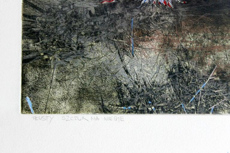 Rat in the sky - XX century, Mixed media print, Figurative, Nude - Gray Nude Print by Jacek Sowicki