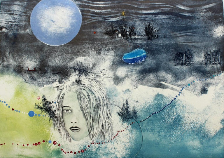 Jacek Sowicki Figurative Print - Blue moon - XX century, Mixed media print, Figurative, Nude