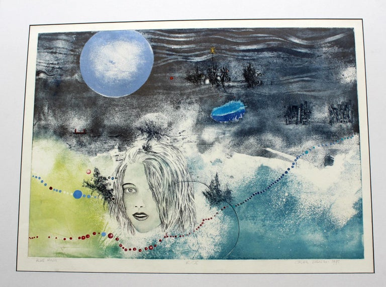 Blue moon - XX century, Mixed media print, Figurative, Nude - Print by Jacek Sowicki
