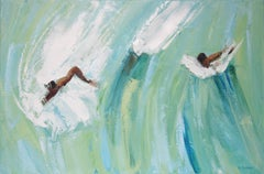 On the wave I - XXI century, Oil on canvas, Figurative painting, Ocean, Blue