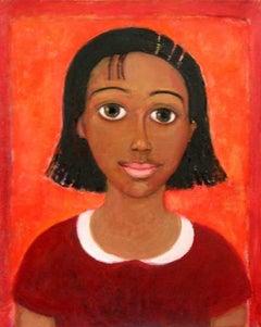 Portrait - XXI century, Oil figurative painting, Red