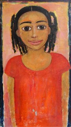 Girl in an orange dress - XXI century, Oil figurative painting, Portrait
