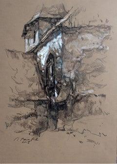 Łącko - XXI century, Figurative landscape drawing, Black and white