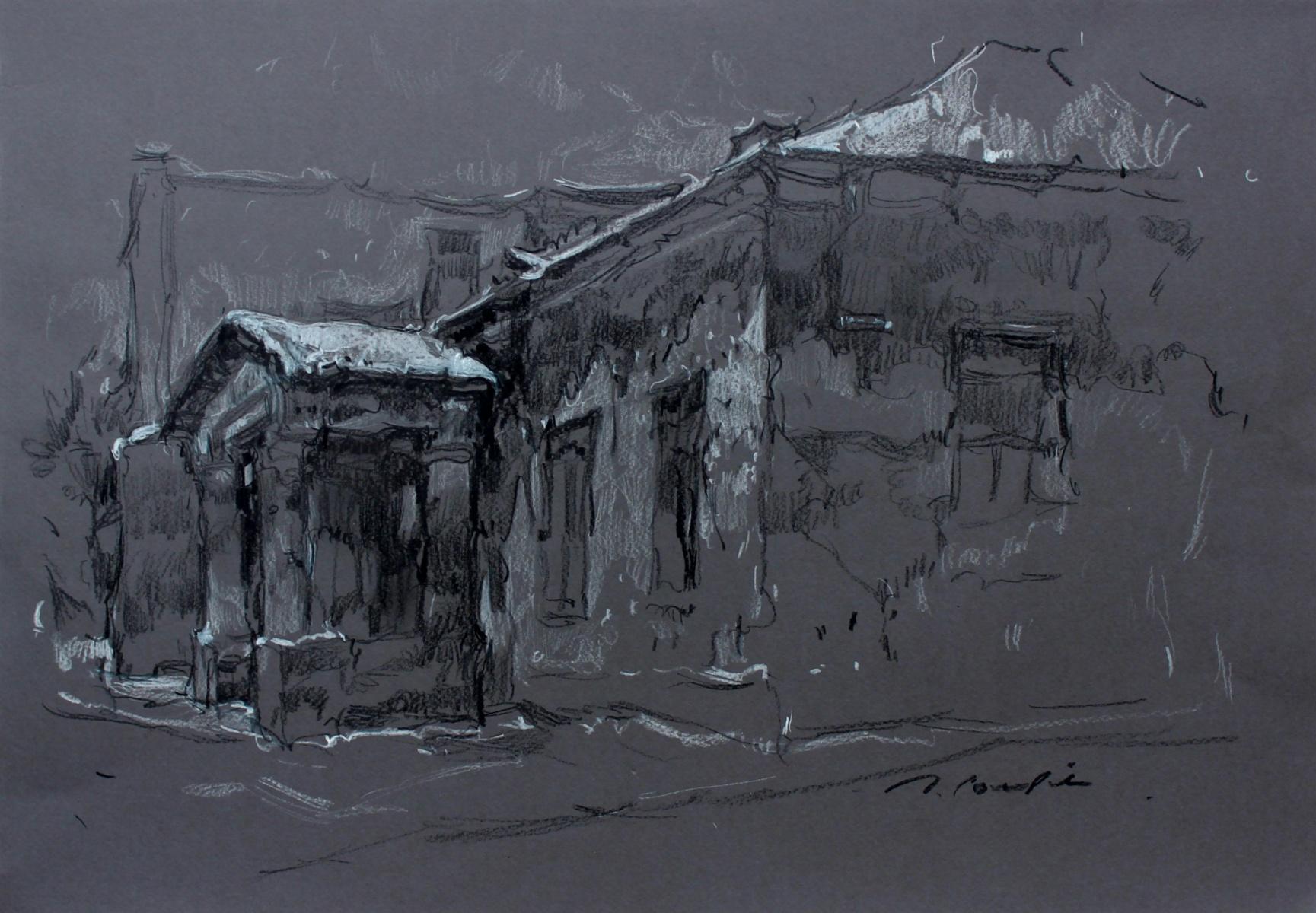 Opoczno - XXI century, Figurative landscape drawing, Black and white