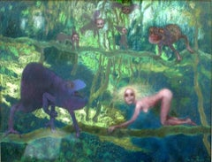 In a forest - XX century, Pastel figurative, Colourful
