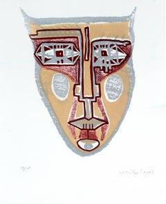 Mask II - XXI century, Mixed media print, Colourful