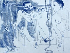 Maler und Modell - XX century, Black and white, Figurative print