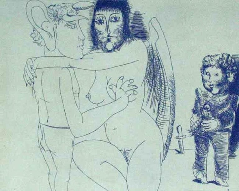 Janusz Przybylski Figurative Print - Conversation with an angel - XX century, Black and white, Figurative print
