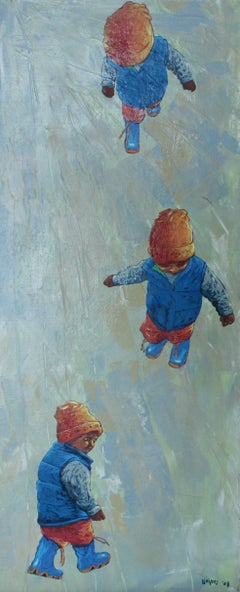 Busy running - XXI Century, Figurative Oil Painting, Vibrant Colors, Portrait