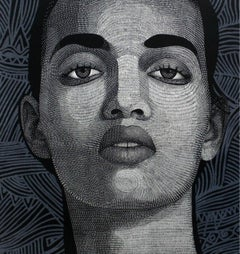 No. 1.2 - XXI Century Contemporary Linocut Print Portrait Ornamental Background