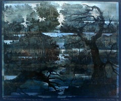 Nocturn or traveling by night - XXI Century, Mixed Media Print, Landscape