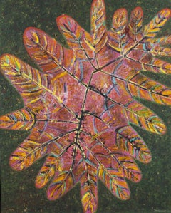 Great leaf 5 - XXI Century, Contemporary Oil Painting, Colorful, Warm tones