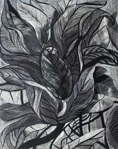 Black flower - XXI Century, Contemporary Floral Linocut, Black and White