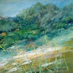 Late spring - Acrylic painting, Landscape, Nature, Blue & green