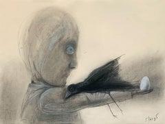 An egg - Figurative pastel drawing, Surrealism, Black & grey