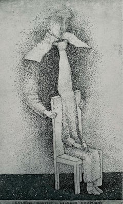 Ex libris Martine Hugues Voumard - Figurative etching print, Black & white