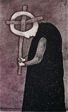 John Paul II - Figurative etching print, Surrealism, Black & white